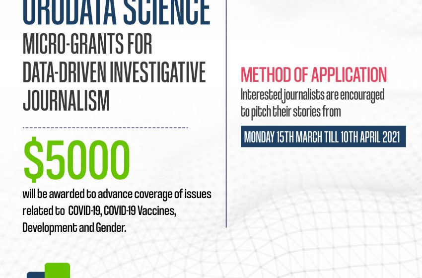 Orodata Science Micro-Grants For Data-Driven Investigative Journalism 2021 (Up to $5000)